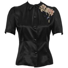 Preowned 1940's Anonymous Black Satin Blouse With Beaded Flower ($365) ❤ liked on Polyvore featuring tops, blouses, black, shirts, puffy sleeve shirt, beaded top, satin blouse, satin shirt and puff sleeve blouse