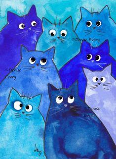 Whacky Blue Kitties Whimsical Cat Art Print - Drawing, Tips, Painting - Katzen - Art Fantaisiste, Cat Art Print, Cat Quilt, Owl Quilts, Baby Quilts, Cat Crafts, Cat Drawing, Whimsical Art, Artwork Prints
