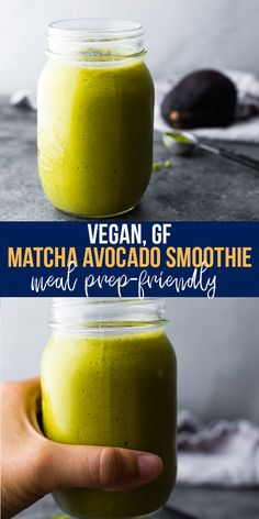 Matcha avocado smoothie gives you a burst of energy to get your morning started off right! With mango, avocado, matcha powder, chia seeds and a tiny bit of vanilla extract. Vegan, gluten-free, and meal prep-friendly. #sweetpeasandsaffron #smoothie #bananafree #vegan #glutenfree #dairyfree #mealprep #mango