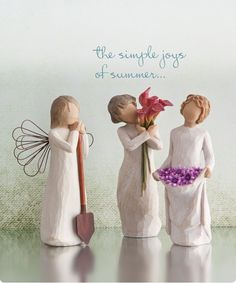Willow Tree Figurines-The simple joys of summer. Willow Figurines, Willow Tree Figures, Willow Tree Angels, Real Angels, Angels Among Us, Indian Dolls, Willow Creek, Tree Toppers, Beautiful Family