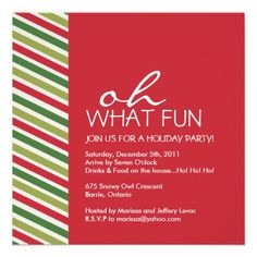 Fun Customizable Christmas Party Invitation.  $2.45