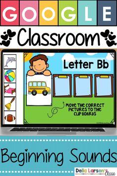 Digital Bundle Starter Packet -Beginning Sounds Distance Learning Phonics Lessons, Kindergarten Lessons, Kindergarten Reading, Kindergarten Classroom, Classroom Activities, Learning Activities, Music Classroom, Online Classroom, Classroom Decor