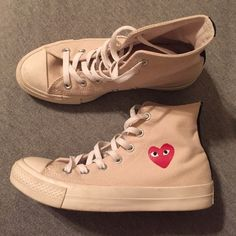 Comme Des Garçons (CDG) Play x Converse Comme Des Garçons (CDG) Play x Converse in cream and black. Worn less than 5 times. Men's size 5, Women's size 7-7 1/2. Comes with box and receipt. #converse #CDG #PlayConverse Comme des Garcons Shoes Sneakers