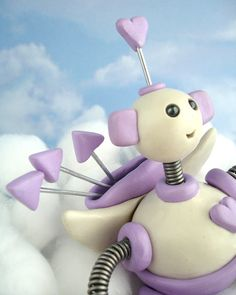Valentine Robot Cupid Cameron  Clay Wire Paint by RobotsAreAwesome