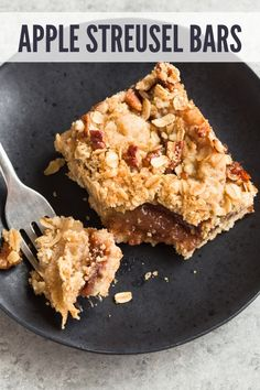 Sinfully decadent Apple Streusel Bars with a shortbread crust gooey cinnamon apple center and a crunchy pecan streusel on top. Sinfully decadent Apple Streusel Bars with a shortbread crust gooey cinnamon apple center and a crunchy pecan streusel on top. Healthy Apple Desserts, Köstliche Desserts, Fruit Recipes, Brownie Recipes, Apple Recipes, Chocolate Recipes, Baking Recipes, Delicious Desserts, Dessert Recipes