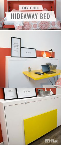 Whether you're tight on space or just spend a lot of time in your home office, this DIY hideaway desk with a bed is perfect for the modern worker. Build a fold up bed right into your walls to make the most of limited floorplan. Make sure to use bright colors like Hot and Spicy and Lemon Burst to add style to your new space.
