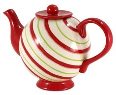 Christmas teapot decorated with angled candy cane coloured concentric rings…