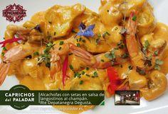 Vaya tapa que nos acaban de compartir nuestros amigos del Restaurante Depata Negra Degusta de La Orotava, Santa Cruz de Tenerife en la   Calle Calvario, 7  ALCACHOFAS  CON SETAS EN SALSA DE LANGOSTINOS AL CHAMPÁN. ¿ APETECE ? Reservas  922 32 63 98