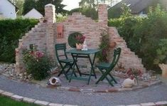 Amazing ideas with stone gazebo without a roof Stone as a material and in any form of it is one of the most elegant and fitting with the Greek Mediterranean landscape options, for any type of exterior design. The aesthetics of stone constructio… Backyard Garden Landscape, Garden Landscaping, Patio Design, Exterior Design, Landscaping Near Me, Modern Farmhouse Exterior, Garden Cottage, Back Gardens, Tropical Garden