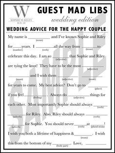 #Unique #Wedding Guest Book Wedding Mad Libs by WeddingsByJamie, $15.00