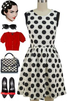 Brand new in store at Le Bomb Shop! Find it here: http://lebombshop.net/products/pop-art-pinup-polka-dot-sundress-off-white-black Also available in pink dot.