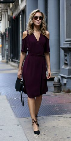 Burgundy cold shoulder wrap dress, ankle tie pointy toe black suede pumps, m2malletier bag