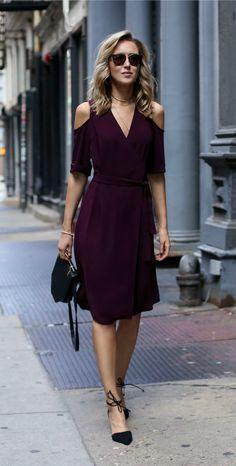 #30DRESSESin30DAYS - Day 7 Date Night - Burgundy cold shoulder wrap dress, ankle tie pointy toe black suede pumps, m2malletier bag