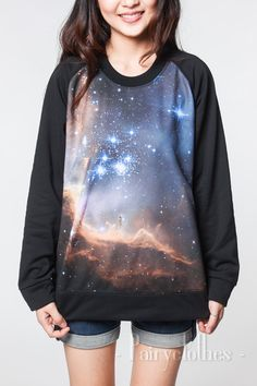 Galaxy Sweater Blue Angel Sky Cosmic Star Black di PairyClothes
