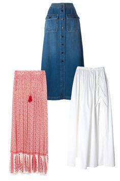 Zara Long Printed Skirt, $50; zara.com Chloé Denim Maxi Skirt, $625; farfetch.com Tibi Satin Poplin Maxi Skirt, $445; tibi.com   - ELLE.com