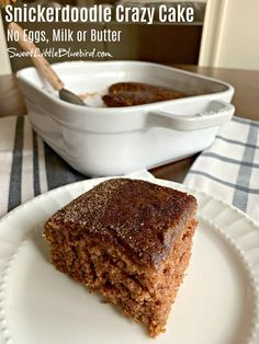 SNICKERDOODLE CRAZY CAKE, aka, Wacky Cake and Depression Cake – loaded with all the flavors of the cherished cinnamon and sugar Snickerdoodle Cookie. Vegan Desserts, Just Desserts, Delicious Desserts, Dessert Recipes, Cake Recipes, Wacky Cake Recipe, Baking Recipes, Cookie Desserts, Sweet Desserts