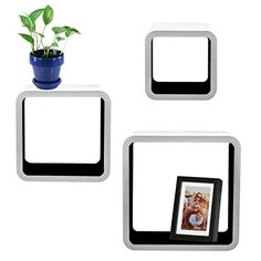 3pc Cozee Square Wood Floating Shelf Set Black  White Wall Mounted Cube Shelves *** Check out this great product. (This is an affiliate link and I receive a commission for the sales)
