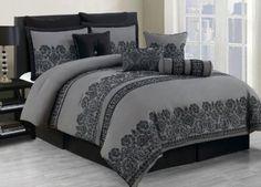 Amazon.com: 10 Piece Cal King Miya Black and Gray Comforter Set: Home & Kitchen