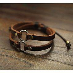 De hombres marrón cuero pulsera de cuero pulsera por July8Designs