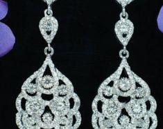 "PAIR Long Clear Crystal Rhinestone Bridal Chandelier Plugs Gauges Earrings 2g 0g 00g 7/6"" 1/2"" 6mm 8mm 10mm 11mm 12mm"