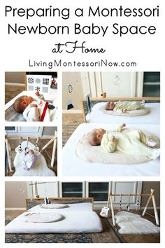Many ideas and resources for preparing a Montessori baby space at home for newborns up to approximately 2 months old; perfect for baby parents and caregivers.
