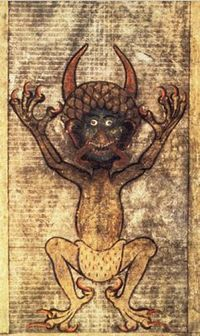 The infamous page from the Codex Gigas (aka Big Book, or the Devil's Bible).