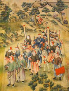 Detalle del salón chino del Palacio de la Cotilla. Decoración de papel de arroz pintado del S.XIX.