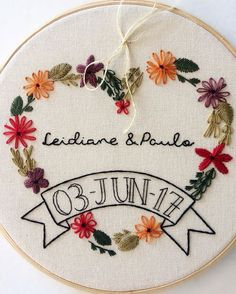 Flower wreath couples embroidery