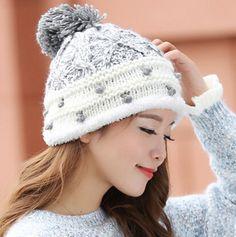 Sweet hairball stocking cap for women fleece knit winter hats