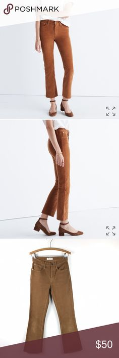 """cali-demi boot jeans in corduroy Lean, modern fit in rich corduroy. Kicks out a bit at the hem for a mini-flare look. Cute with flats or heels. 9"""" rise, 27"""" inseam, 15"""" leg opening. Fits true to size. Worn a few times. Good condition. (side note: I think my pictures are a more accurate representation of the color) Madewell Pants"""