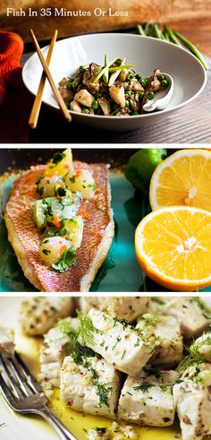Fresh fish dishes in 35 minutes or less including wok-seared cod, citrus salsa with red snapper and swordfish with lemon and fennel. (Photos: Top, Andrew Scrivani for The New York Times; middle and bottom, Evan Sung for The New York Times)