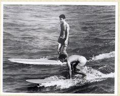 "Vintage 1967 B&W Real Photo Surfing Galveston Island Texas 8"" x 10"""