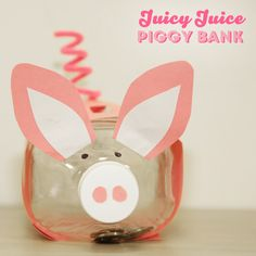 This adorable piggy bank is a great way to #upcycle leftover juice bottles and the perfect excuse to get crafty with your little one!