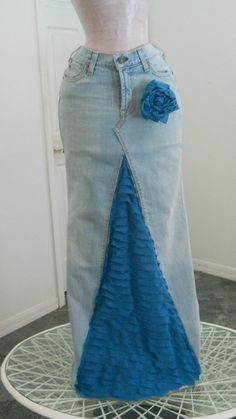 Belle en Bleue jean skirt Seven for All Mankind teal blue ruffle bohemian beachy Renaissance Denim Couture with rose pin. $76.00, via Etsy.