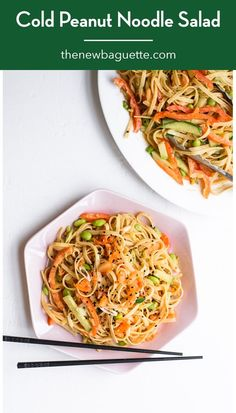 Cold peanut noodle salad is a light yet satisfying one-pot meal for hot summer days. Feel free to sub in whatever fresh veg you have on-hand! thenewbaguette.com #peanutnoodles #noodlesalad #peanutsauce Quinoa Noodles, Vegetarian Recipes Dinner, Dinner Recipes, Quick Weeknight Meals, Noodle Salad, Peanut Sauce, No Calorie Foods, One Pot Meals, Bon Appetit