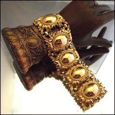 Napier Jewelry Vintage Gold Bracelet Rare Etruscan Revival Wide Cuff Http Www