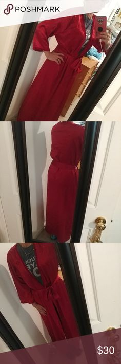 Oscar de la rent robe Worn 2 times in summer when I threw on to get mail. Excellent Condition. Silky and soft. Floor lenght tie waist robe. Beautiful red color with embroidery design flowers around robe. Totally classy and awesome designer robe.  From OSCAR DE LA RENTA PINK LABEL. Got as a gift so unsure where it was purchased. Just sits in my closet got 2 kids who I don't trust to not destroy if I wore. Needs a good home. 😂 small and seems to fit true. Modeling in pic I am 125lbs and 5foot…