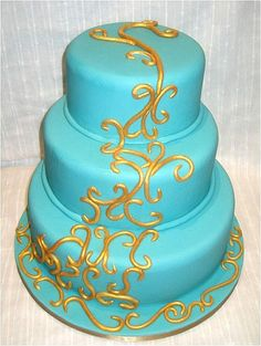 Turquoise Wedding Cakes Provide a Sweet and Gentle Touch on the ...
