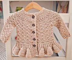 Crochet PATTERN  Soft Wool Peplum Cardigan sizes baby up to