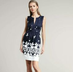 """Kate Spade Silk Navy White Floral Dress Cultivate an elegant garden in this two-tone floral-print Kate Spade New York dress. True navy/white floral-print satin. Banded caftan neckline. Sleeveless; bra-friendly shoulder coverage. Pleated-into banded waist. A-line skirt. Silk; acetate lining. Missing size tag but measures about a size 4:  34""""bust, 27"""" waist, 36""""length kate spade Dresses"""