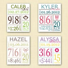 You Pick Color & Birth Details, Nursery Decor, Baby Gift. $20.00, via Etsy.
