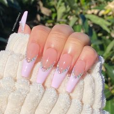 Acrylic Nail Designs Coffin, Acrylic Nails Coffin Pink, French Tip Acrylic Nails, Long Square Acrylic Nails, Long French Tip Nails, French Tips, Pink Acrylics, Colored Acrylic Nails, Acrylic Nail Designs For Summer