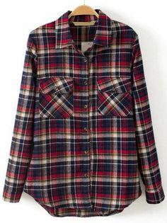 Red Lapel Long Sleeve Plaid Pockets Blouse US$30.83