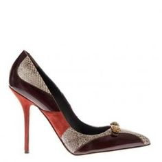 60% off Dolce & Gabbana - Leather Pumps Bellucci Ayers Snakeskin Black Grey Red - $367.00