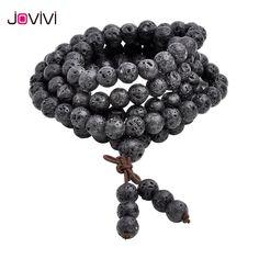 JOVIVI Hot Bead Bracelets 6mm 8mm Natural Lava Rock Stone Healing Stone 108 Buddhist Prayer Beads Tibetan Mala Bracelet Necklace