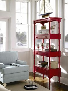 Love this red etagere for the home, nursery or kids room
