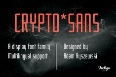 Crypto is a narrow, sans serif, geometric, display font with two weights. It works well for modern, contemporary digital projects, logotypes, films, posters, billboards, press advertisements, websites, packaging. It provides multilingual support. Font Family, Sans Serif, Fonts, Weights, Modern Contemporary, Packaging, Posters, Display, Digital