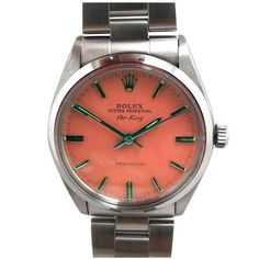 Rolex Steel AirKing ref# 5500 Custom Watermelon Dial circa 1978 | From a unique collection of vintage wrist watches at http://www.1stdibs.com/jewelry/watches/wrist-watches/
