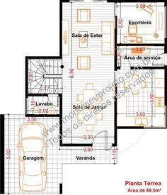 planta baixa de sobrado com 3 dormitórios térreo