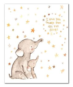 'I Love You' Elephant Print